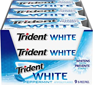 Trident White Peppermint Sugar Free Gum, 9 Packs of 16 Pieces (144 Total Pieces)