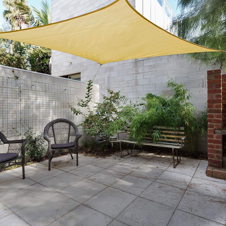 GOUDU Toldo Vela de Sombra Rectangular Toldo Vela IKEA Prevención Rayos UV Solar protección para Exteriores Patio, el jardín, protección UV - Beige 7x7m: Amazon.es: Jardín