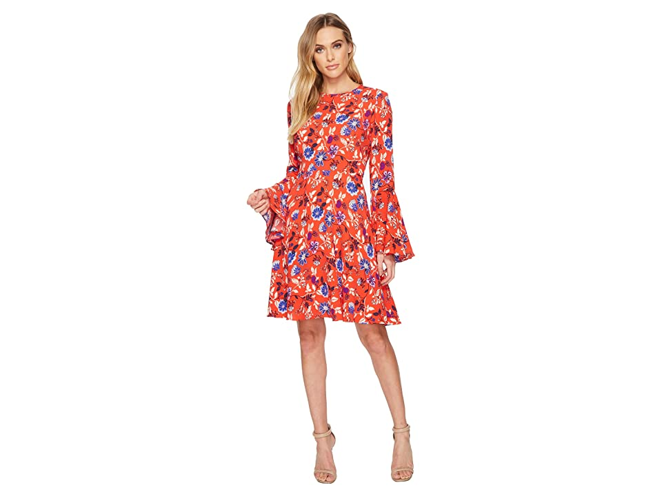 Donna Morgan Jewel Neck Printed Rayon Fit and Flare w/ Bell Sleeve (Poppy Combo) Women