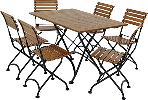 new arrival Sunnydaze Essential European Chestnut Wood 7-Piece sale Folding Table and new arrival Chairs Set - Modern Indoor/Outdoor Dining Table Set - Ideal for The Patio, Front Porch and Backyard online