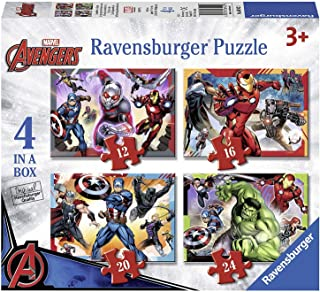 Marvel Avengers 4 in a Box Puzzles Featuring Captain America Ant Man Black Panther The Hulk Iron Man and Thor Ages 3 and Up
