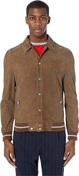 Shirt Collar Suede Bomber Jacket