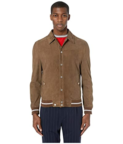 eleventy Shirt Collar Suede Bomber Jacket (Tobacco) Men