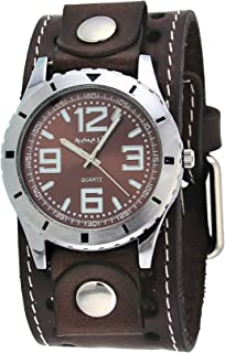 Nemesis #BSTH096B Men's Amazing Collection Black Wide Leather Cuff Band Brown Dial Watch