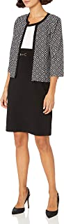 Sandra Darren Women's Petite 2 Pc 3/4 Sleeve Printed Knit Sheath Dress with Jacket