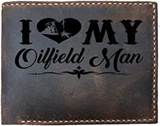 I love my Oilfield man funny quote Custom Laser Engraved Leather Bifold Wallet for Men
