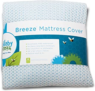 LULLABY EARTH Breeze | Baby Crib Mattress Protector Pad - 100% Breathable and Washable - Increase Airflow Under Baby - Waterproof Backing - Blue