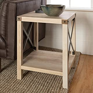 WE Furniture Rustic Modern Farmhouse Metal and Wood Square Side Accent Living Room Small End Table, 18 Inch, White Oak