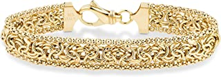 "MiaBella 18K Gold Over Sterling Silver Italian Byzantine Beaded Mesh Link Chain Bracelet for Women, 6.5"", 7"", 7.5"", 8"" 925 Italy"