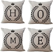 Throw Pillow Covers Decorative Cotton Linen Square Outdoor Cushion Cover Sofa Home Pillow Covers 18 x 18 (Set Of 4) (H-O-M-E)
