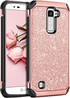LG K10 Case, LG Premier LTE L62VL L61AL Case, BENTOBEN Sparkly Hybrid Hard Cover Laminated with Luxury Shiny Synthetic Leather Shockproof Protective Case for LG K10 MS428 K428SG Case, Rose Gold+Black