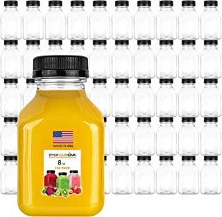 Stock Your Home Plastic Juice Bottles 8 Oz with Lids, Juice Drink Containers with Caps for Juicing Smoothie Drinking Cold ...
