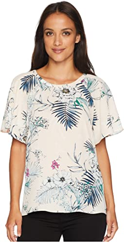 Woven Short Sleeve Printed Blouse