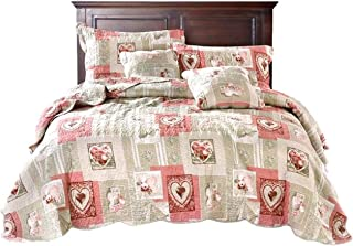 Tache Dainty Sweetheart Cottage Patchwork Quilted Coverlet Bedspread Quilt Set - Bright Vibrant Scalloped Multi Colorful White Red Pink Floral Print - Twin - 2-Pieces