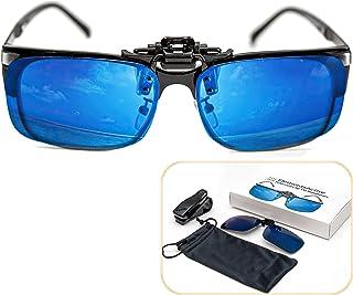 ElementsActive - Gafas de sol accionadas por clip polarizadas con reflejos azules, con protección antideslumbrante UV400 UV, lente de gran tamaño (azul)