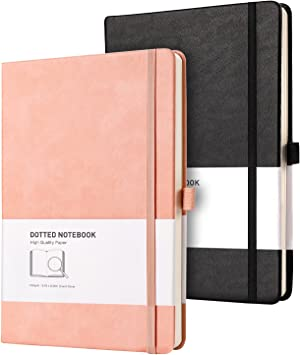 RETTACY Dotted Bullet Grid Journal 2 Pack - Dot Grid Hard Cover Notebook with 320 Pages,120gsm Thick Paper,8 Perforated Sheets,Smooth PU Leather,Inner Pocket,5.75'' × 8.38'' (Black Pink)