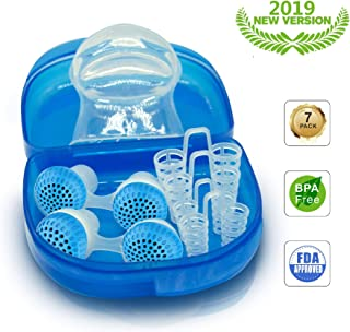 Anti Snoring Devices Snoring Solution,2 in 1 for Comfortable Sleep,Includes Silicone Tongue Tube and Set of 4 Nose Vents to Ease Breathing with Travel Case