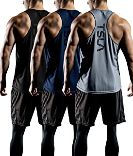 TESLA Men's 3 Pack Workout Muscle Tank Sleeveless Y-Back Gym Training Cool Dry Top MTN33