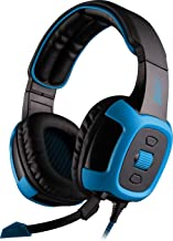 SADES SA906 7.1 USB Surround Sound Stereo Over-The-Ear Gaming Headsets with Microphone Vibration LED Light for PC Gamers (Blue-Black)