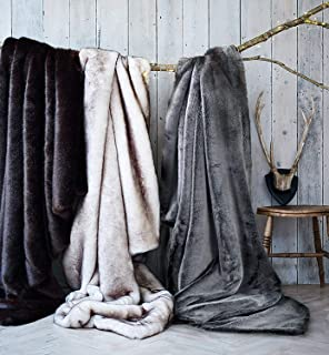 Double Sided Faux Fur Throw Blanket Silky Soft Oversized Afghan Machine Washable, Grey Striped Mink Chinchilla Shadow Fox 55 by 70 Inch (Black Frosted)