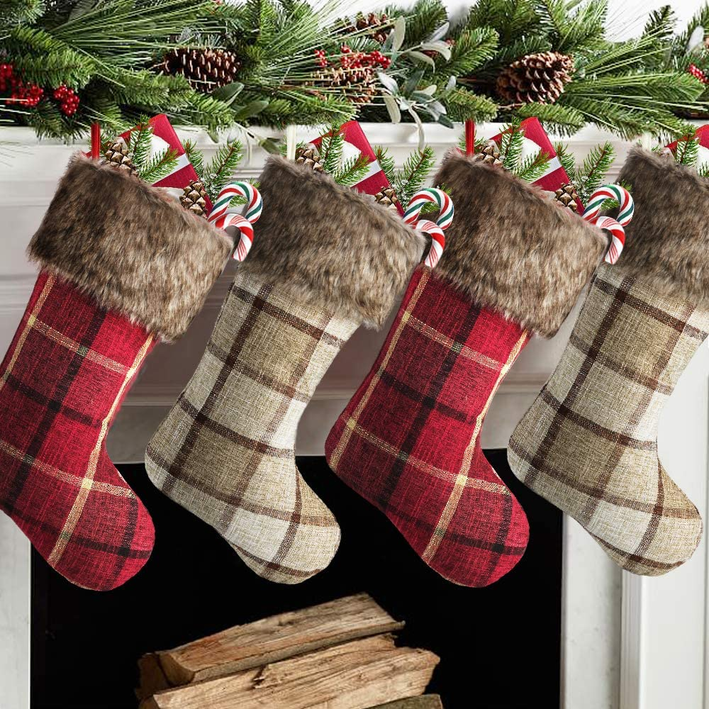 Meriwoods Chirstmas Stockings 4 Pack Large Burlap 2021 Recommended model Buffa Inch 18
