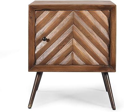 Christopher Knight Home Xaviera Mango Wood Cabinet, Dark Brown, Black