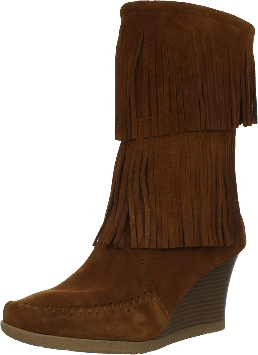 Damen Calf Hi Double Fringe Wedge Stiefel Fashion Stiefel