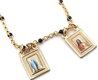 """Gold Plated Scapular Necklace 18"""" Black Beads Chain Religious Jewelry"""