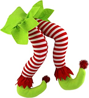 WEWILL 20'' Elf Legs Christmas Decorations Stuffed Legs Christmas Home Party Tree Fireplace Ornaments (Green)