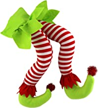 WEWILL 20'' Elf Legs for Christmas Decorations Stuffed Legs for Christmas Home Party Tree Fireplace Ornaments (Green)