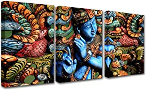 Hinduism Canvas Wall Art for Living Room Decor 3 Pieces Wooden Statue of Lord Krishna Paintings Indian Kitchen Wall Decor Hindu Religious Wall Decorations for Living Room Wall Pictures 42x20 Inch