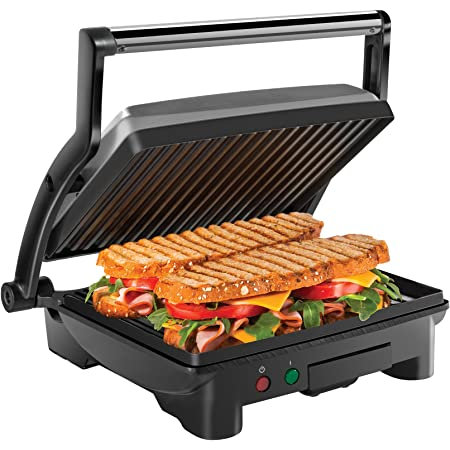 Chefman Panini Press Grill and Gourmet Sandwich Maker Non-Stick Coated Plates, Opens 180 Degrees to Fit Any Type or Size of Food, Stainless Steel Surface and Removable Drip Tray, 4 Slice
