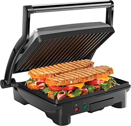 Chefman Panini Press Grill and Gourmet Sandwich Maker, Non-Stick Coated Plates, Opens 180 Degrees to Fit Any Type or Size of Food, Stainless Steel Surface and Removable Drip Tray, 4 Slice