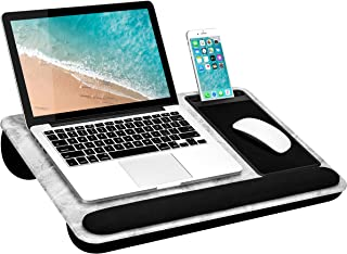LapGear Home Office Pro Lap Desk with Wrist Rest, Mouse Pad, and Phone Holder -White Marble - Fits Up to 15.6 Inch Laptops...