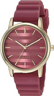 Nine West NW/2246BEBE Reloj de pulsera para mujer, correa de silicona, color dorado y rojo