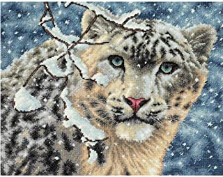 Moohue 14ct Counted Cross Stitch Kits Beginner Winter Snow Leopard Cross Stitch Pattern DMC Cotton Thread Aida Cloth Art Craft Kits (Winter Snow Leopard)