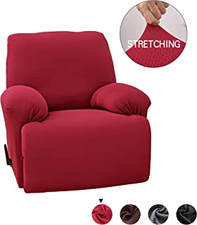 MarCielo Stretch Recliner Slipcover, 1-Piece Couch Cover, Sofa Cover, Furniture Chair Slipcover (Burgundy)