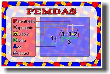PEMDAS - Parenthesis, Exponents, Multiply, Divide, Add & Subtract - Math Classroom Poster