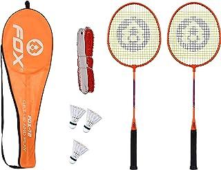 Fox Badminton Combo Fox-72 Badminton Rackets with 3pc Plastic Shuttlecock and Badminton net