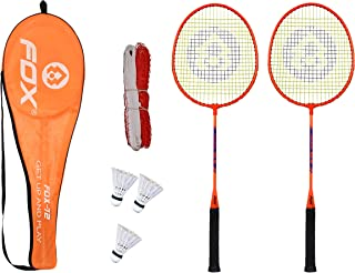 Fox Badminton Combo Fox-72 Badminton Rackets with 3pc Plastic Shuttlecock and Badminton net