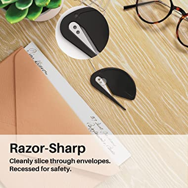 Uncommon Desks Letter Openers - Executive Black - Sharp and Efficient - Open Envelopes with Ease (3 Pieces)