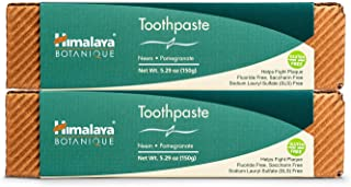 Himalaya Botanique Neem & Pomegranate Toothpaste, Original Formula for Brighter Teeth and Fresh Breath, 5.29 oz, 2 Pack