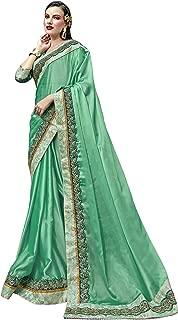Indian Women Designer Ethnic Wedding Satin Silk Party Wear Saree Blouse S7741 Sea Green