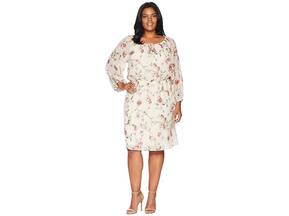 Adrianna Papell Plus Size Bontia Oasis Peasant Dress (Ivory Multi) Women
