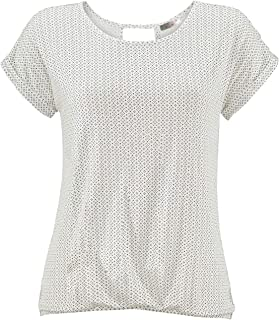 ELFIN Damen T-Shirt Kurzarm Blusen Shirt mit Allover-Minimal Print Lose Stretch Basic Tee