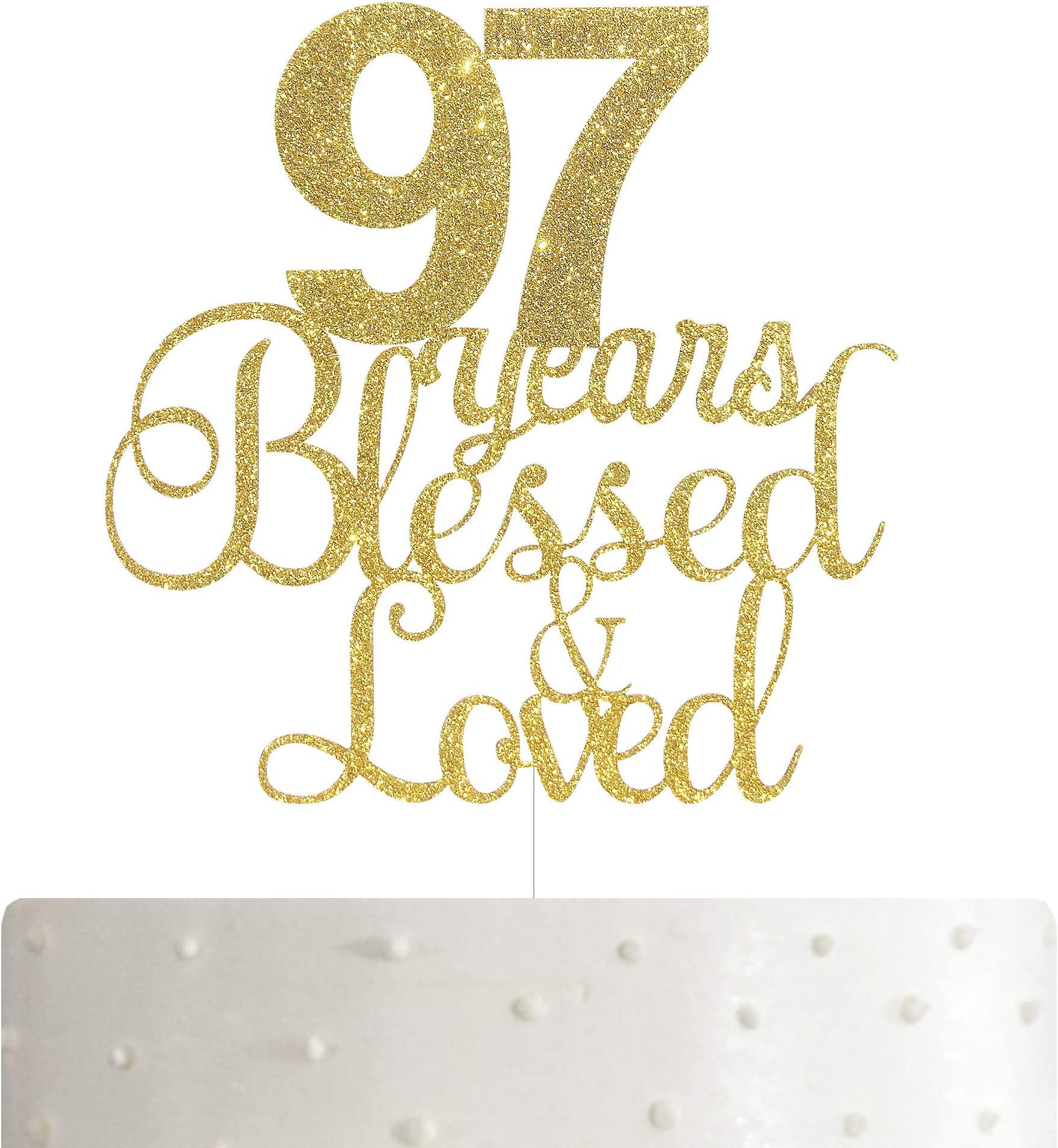 ALPHA K 75th BirthdayAnniversary Cake Topper \u2013 75 Years Blessed /& Loved Cake Topper with Gold Glitter