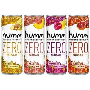 Humm Probiotic Kombucha Zero Sugar Variety Pack - No Refrigeration Needed, Keto-Friendly, Organic, Vegan, Gluten-Free - 11oz Cans (16 Pack)