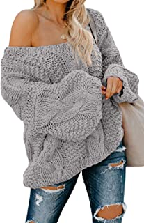 Women's Sexy Long Sleeve Off Shoulder Loose Cable Knit...