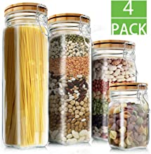 Food Storage Containers Set, Kitchen Storage Jars, Elegant Life Clear Glass Airtight Canister Set with Airtight Clamp Caps...