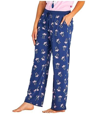 Life is Good Snuggle Up Sleep Pants (Darkest Blue Palm Print) Women